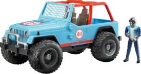 Bruder 02541 Jeep Cross Country racer blau mit Rennfahrer, ab 3 Monaten, Maße: 38,1 x 16 x 18,5 cm, Kunststoff