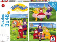 Schmidt Puzzle 56245 Teletubbies Zeit zum Spielen, 3x48 Teile, ab 4 Jahre