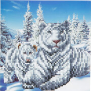 Crystal Art weiße Tiger 18x18cm