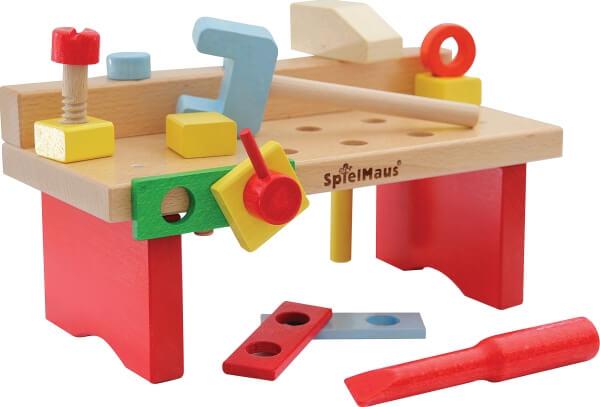 Spielmaus Holz Werkbank 15 Teilig 29 X 14 X 13 Cm 15 Teile